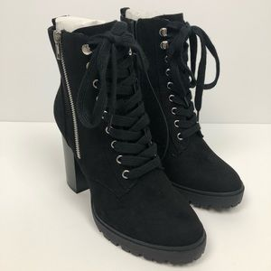 Forever 21 Faux Suede Lace Up Black Booties Size 8
